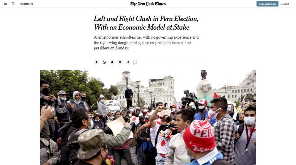 """""""Sobre el papel, los candidatos en la boleta presidencial en Perú el domingo eran un ex maestro de escuela de izquierda sin experiencia en el gobierno y la hija de derecha de un ex presidente encarcelado que dirigió el país con mano de hierro"""", informa The New York Times. (Captura / The New York Times)"""