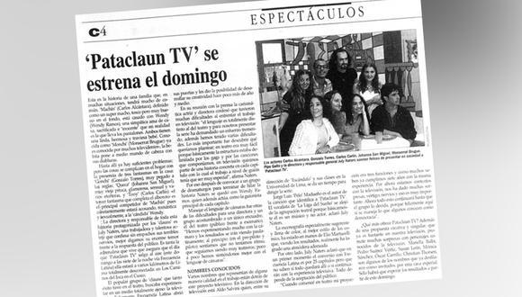 """Artículo de """"El Comercio"""" de 1997 sobre """"Patacláun"""". (Foto: Archivo de El Comercio)"""