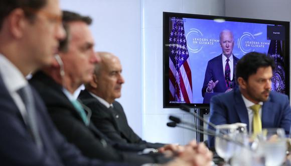 El presidente de Brasil, Jair Bolsonaro, participa en la Cumbre del Clima organizada por el mandatario de Estados Unidos Joe Biden. (Foto: AFP).