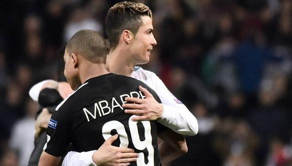 Cristiano Ronaldo y Kyian Mbappé se cruzaron en el campo por primera vez en 2018, un Día de los enamorados. (Foto: EFE)