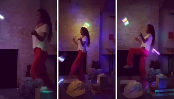 Thalía muestra sus habilidades circenses en video que se popularizó en redes sociales. (Instagram: @thalia)