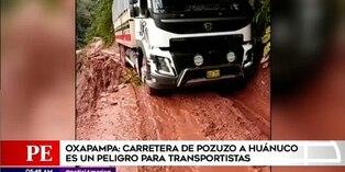 Carretera es un peligro para transportistas en Oxapampa