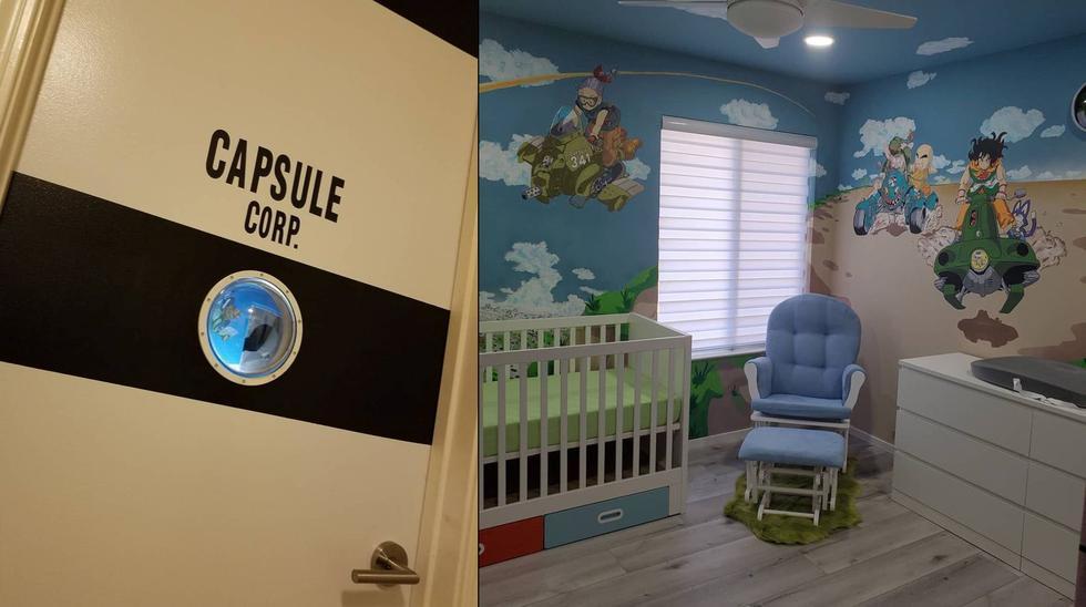 """El experto en efectos especiales Vinnie Lamborn decoró con motivos del """"Dragon Ball"""" original el cuarto de su hijo."""