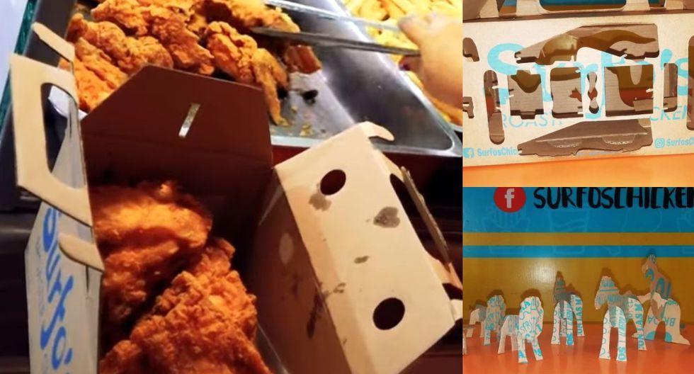 Surfo's Broaster Chicken entregar el delivery en bolsas, sino en 'loncheras' de cartón, las cuales también se convierten en figuritas