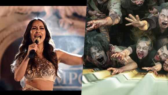 """Sabrina Sato como Divina, presentadora del reality """"Olimpo"""" a cuyo alrededor se desarrolla """"Reality Z"""". A la derecha, los zombies que pondrán en peligro a los concursantes. Fotos: Netflix."""
