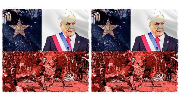 """""""Quizás el peor error de Piñera fue creer que lo que ocurría era manejado por un titiritero externo, con capacidad para planificarlo todo y manipular a la gente"""". (Ilustración: Rolando Pinillos Romero)."""