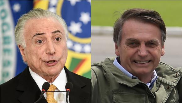 Temer le entregará el poder a Bolsonaro el 1 de enero próximo. | Foto: AFP