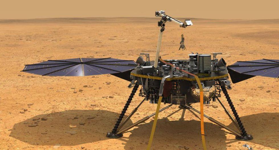 Ilustración que muestra una vista simulada de InSight mientras reduce la velocidad a medida que desciende hacia la superficie de Marte. (Foto: EFE/NASA/JPL-Caltech)