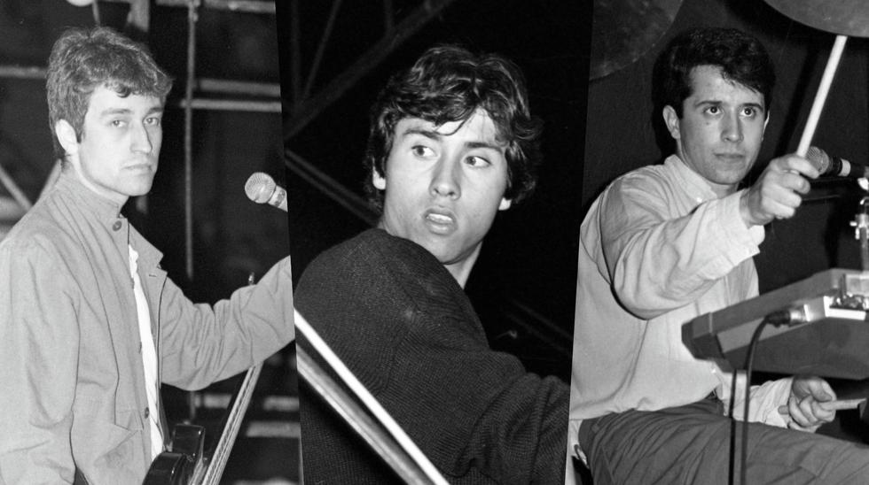 De izquierda a derecha, los jovencísimos Jorge González, Claudio Narea y Miguel Tapia en el concierto que ofrecieron como Los Prisioneros en la plaza de Acho (Lima) el 19 de septiembre de 1987. Este concierto será recreado en la serie que Movistar empieza a filmar en 2021. Foto: Archivo de El Comercio.