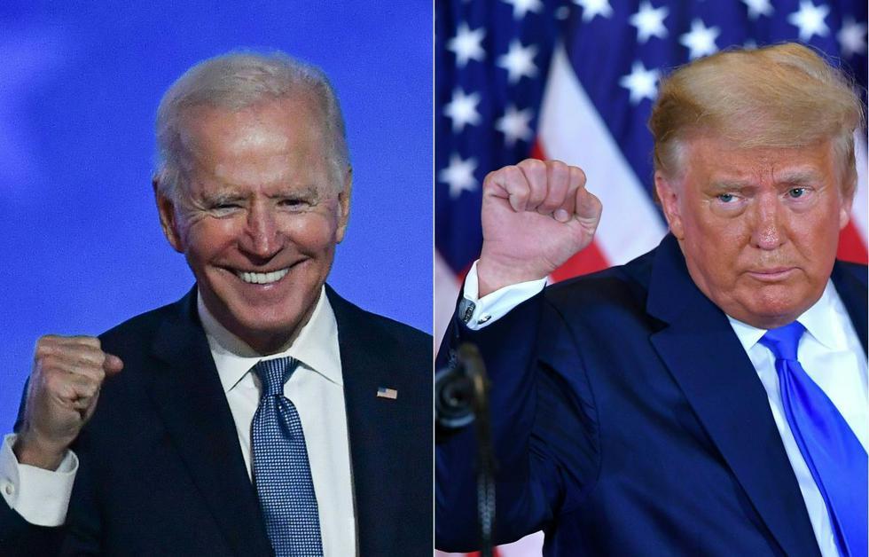 Esta combinación de imágenes creadas el 4 de noviembre de 2020 muestra al candidato presidencial demócrata Joe Biden (izquierda) en Wilmington, Delaware, y al presidente de Estados Unidos, Donald Trump (derecha) en Washington, DC. (Fotos de ANGELA WEISS y MANDEL NGAN / AFP).