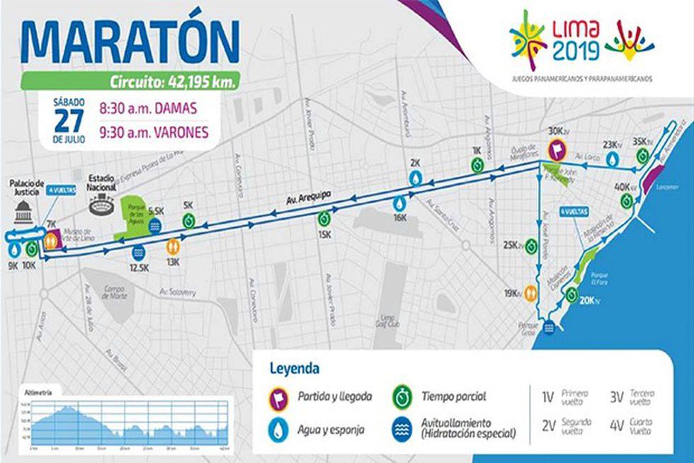 El mapa con los puntos que recorrerá la maratón.