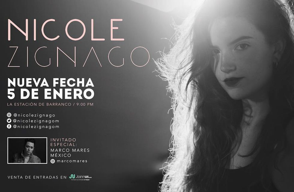 Conciertos de Nicole Zignago. (Foto: Facebook)