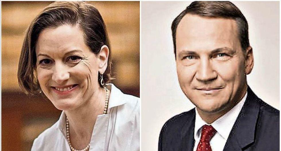 """La columnista de """"The Washington Post"""" ganadora del Pulitzer por su obra """"Gulag"""", Anne Applebaum, y su esposo, ex canciller polaco, Radoslaw Sikorski."""