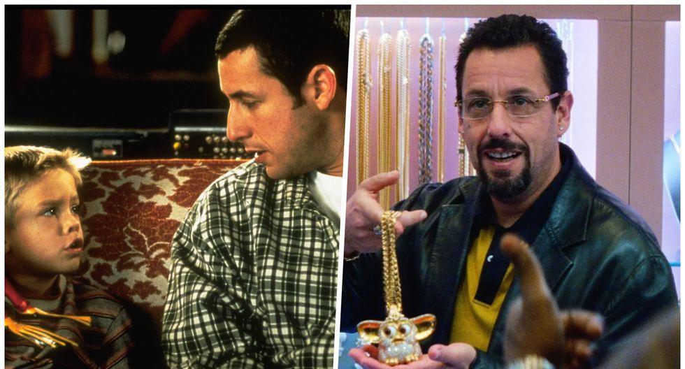 """A la izquierda Adam Sandler en """"Un papá genial"""" (1999), tal vez su película más famosa. A la derecha en """"Uncut Gems"""" (2019), la cinta por la que el actor esperaba ser nominado al Oscar. Fotos: Difusión."""