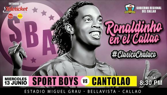"""Sport Boys llevará a cabo un evento llamado """"Ronaldinho en el Callao"""", en donde el crack brasileño será la figura principal. El ex Barcelona llegó a Lima esta tarde y brindó una conferencia de prensa (Foto: @Sportboys)"""