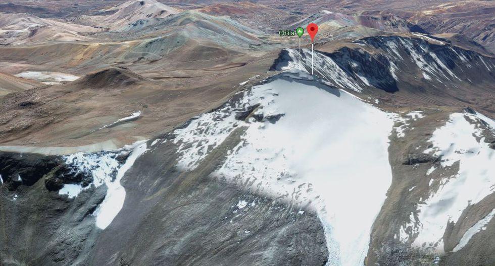 La cordillera Chila ha perdido el 97,26% de 33,89 kilómetros cuadrados de superficie glaciar, con un retroceso anual promedio de 0,82 kilómetros por año, desde 1970 al 2007. Está ubicada en la naciente de la rama occidental de los Andes centrales. Está localizada en Arequipa. En la captura, nevado en la cordillera Chila. (Captura: Google Maps)
