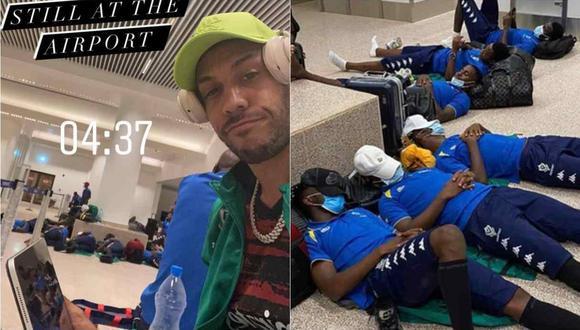 Aubameyang y selección gabonesa durmieron en el suelo del aeropuerto en Gambia. (Foto: Instagram)