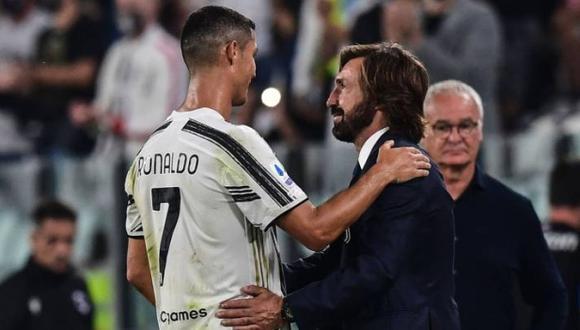 Cristiano Ronaldo se despidió de Andrea Pirlo mediante redes sociales. (Foto: AFP)