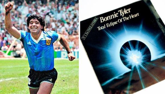 Maradona y Eclipse Total del Amor, el disco que lo acompañó en la concentración del América de México, en 1986.