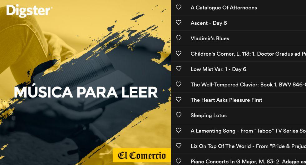 Este playlist de El Comercio by DIGSTER es para todos los que necesitan un adecuado acompañamiento musical en sus lecturas durante el aislamiento por el coronavirus.