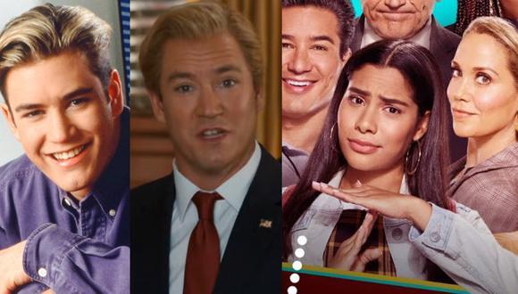 """A la izquierda """"Salvado por la campana"""" Zach Morris de adolescente y como gobernador de California, en ambos casos interpretado por Mark Paul Gosselar. A la derecha en primer plano Daisy (Haskiri Velazquez), protagonista de la nueva serie. Fotos: NBC."""