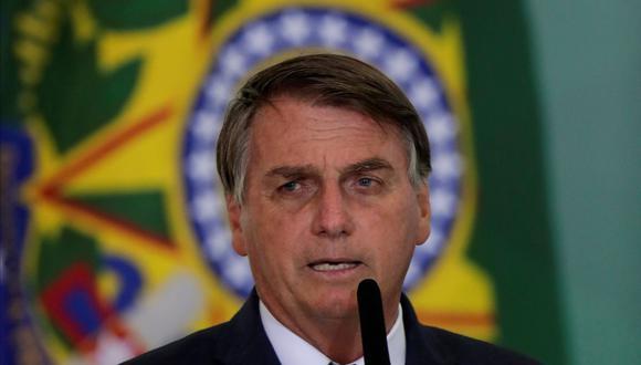 El presidente de Brasil, Jair Bolsonaro, habla durante una ceremonia para lanzar un programa para ayudar a los nuevos alcaldes, en el Palacio Planalto en Brasilia, el 23 de febrero de 2021.  (REUTERS/Ueslei Marcelino).
