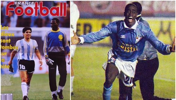 Thomas N'kono poco pudo hacer en esa noche brillante de Prince Amoako. Cristal goleó 4-1 al Bolívar. (Foto: Portada France Football/Archivo El Comercio)