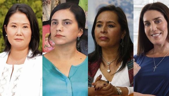 Keiko Fujimori, Verónika Mendoza, Nidia Vílchez y Carolina Lizárraga participan de las elecciones internas en sus respectivos partidos. (Fotos: Grupo El Comercio)