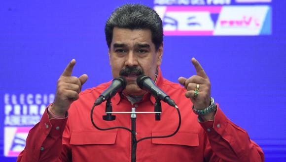 El presidente de Venezuela, Nicolás Maduro, habló sobre su reunión en México con su par del Perú Pedro Castillo. (FEDERICO PARRA / AFP).