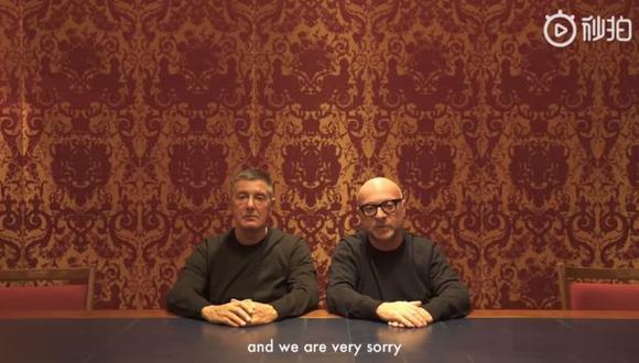 """A través de un video, Stefano Gabbana y Domenico Dolce lamentaron haber indignado """"a los chinos del mundo entero"""".(Foto: Captura de video)"""