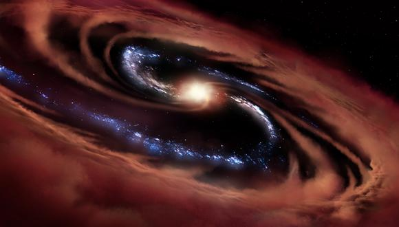 Ilustración de la galaxia llamada CQ4479. (NASA/ DANIEL RUTTER)