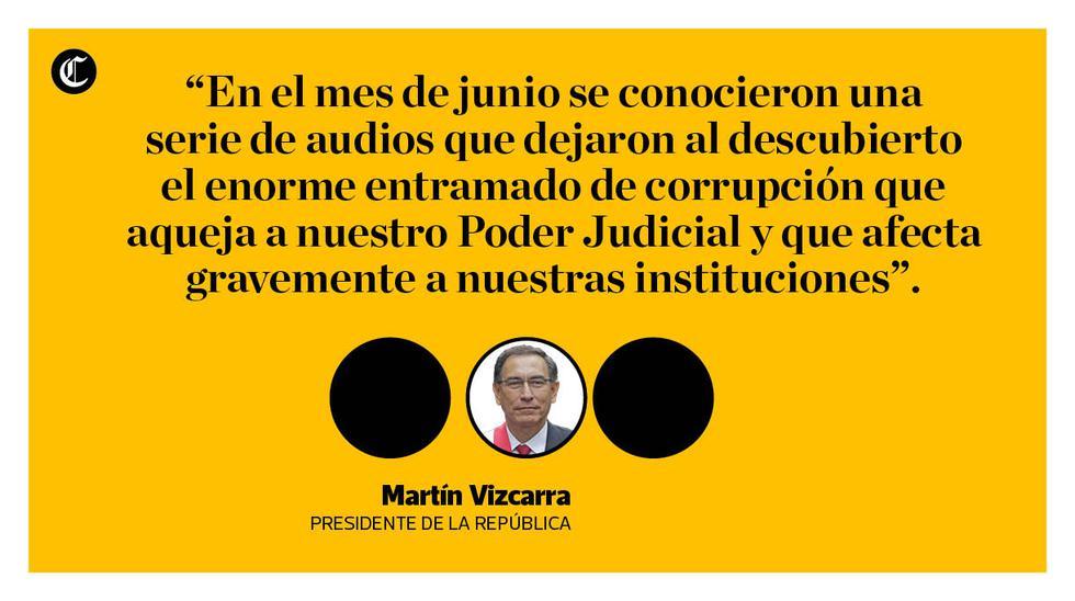 Las frases del mensaje a la nación del presidente Martín Vizcarra, donde solicitó cuestión de confianza al Congreso por las reformas constitucionales. (Liliana Aynayanque / El Comercio)