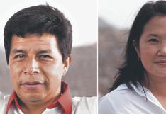 Encuesta de Datum: Pedro Castillo obtiene 41% de intención de voto, frente a 36% de Keiko Fujimori
