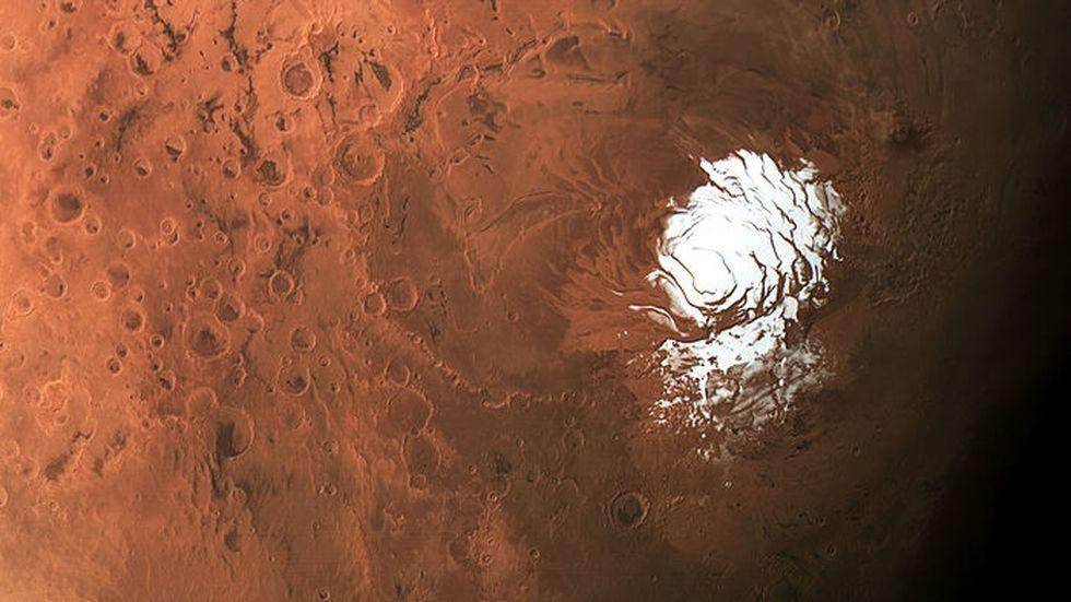 El agua líquida se encuentra debajo de una capa de hielo (blanco) ubicado en el polo sur de Marte. (sciencemag.org)
