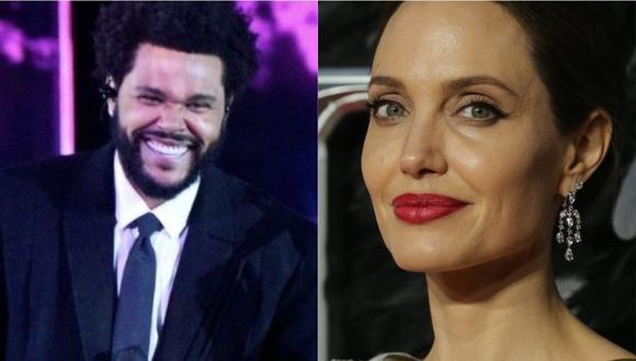 Angelina Jolie y The Weeknd fueron fotografiados cenando juntos en Los Ángeles. (Foto: @theweeknd/ISABEL INFANTES / AFP)