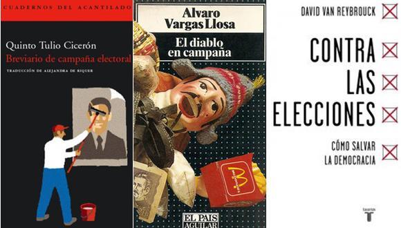 """Portadas de las publicaciones """"Breviario de campaña electoral"""", """"El diablo en campaña"""" y """"Contra las elecciones""""."""