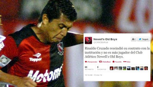Rinaldo Cruzado no es más jugador de Newell's Old Boys