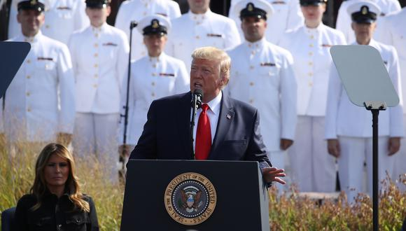 Donald Trump se pronunció durante la conmemoración de los ataques terroristas del 11S. Foto: AFP