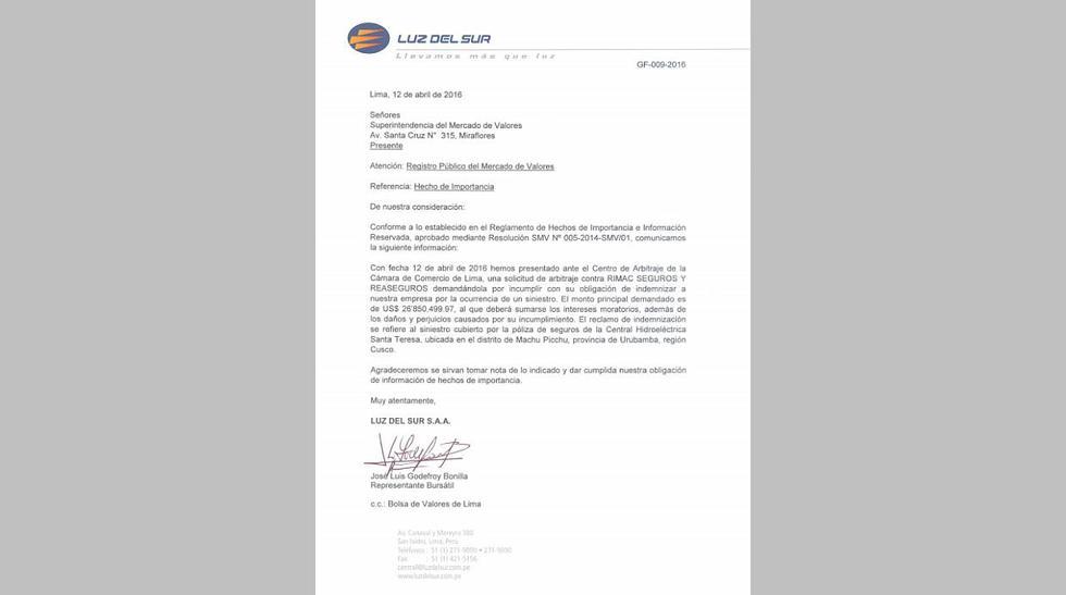 Luz del Sur inicia proceso de arbitraje contra Rímac Seguros - 2