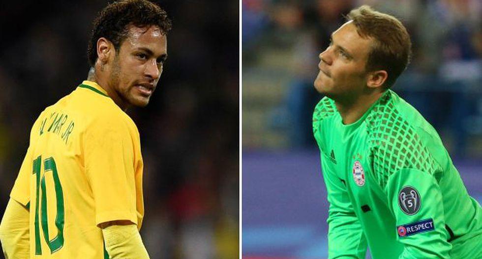 Neymar Junior y Manuel Neuer, estrellas de Brasil y Alemania respectivamente. (Foto: AFP / EFE)