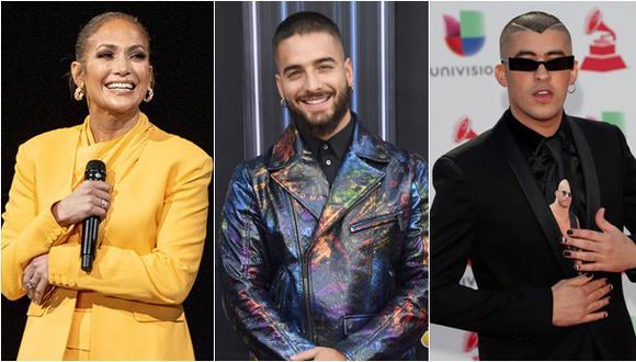 Jennifer López, Maluma y Bad Bunny formarán parte de los American Music Awards (AMAs). (Fotos: AFP -Emma McIntyre / AFP - Frazer Harrison / EFE - Nina Prommer)