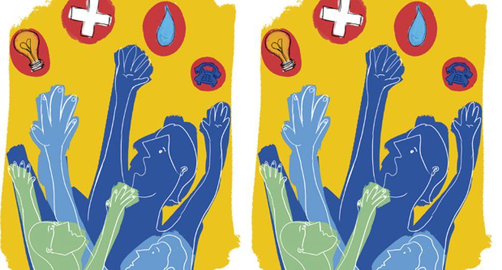 """""""En salud tenemos que el 85% de peruanos acceden a un seguro de salud, pero eso no les garantiza recibir una buena atención y, luego de esta, disponer de sus medicamentos completos"""". (Ilustración: Giovanni Tazza)"""