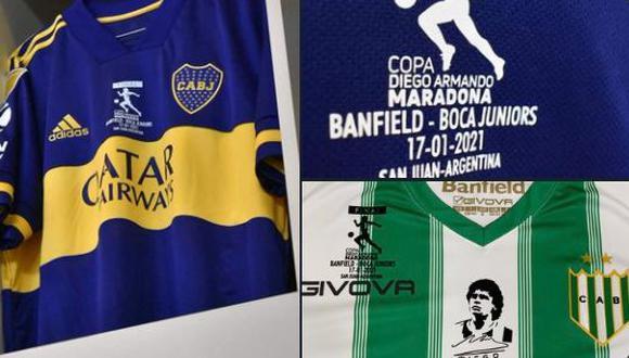 Los jugadores de Banfield lucirán además el estampado que los acompaña en el pecho a partir de la muerte de Maradona. (Foto: Difusión)