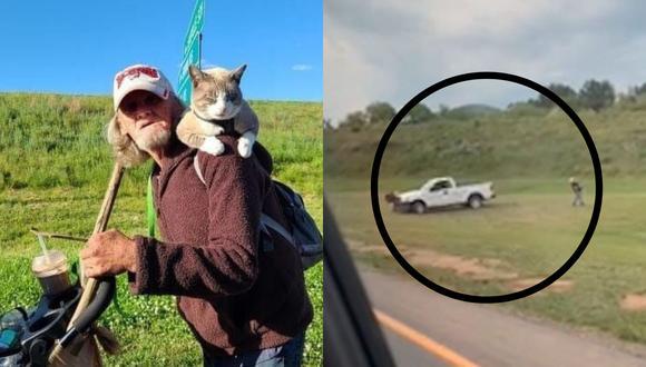 Un video viral muestra cómo una camioneta intentó arrollar en más de una ocasión a un indigente a un lado del camino.   Crédito: Kira Farrington / WLOS / Asheville Police Department / Facebook