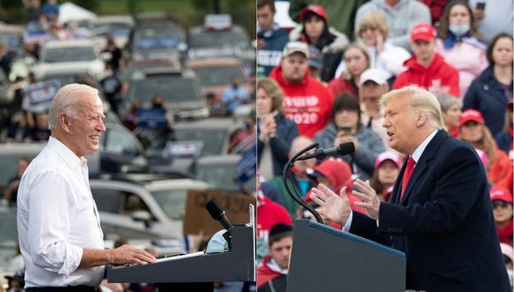 Esta combinación de imágenes muestra a Joe Biden hablando durante un evento en Atlanta, Georgia, el 27 de octubre de 2020, y al presidente Donald Trump en un mitin el 26 de octubre de 2020. (Fotos de JIM WATSON y SAUL LOEB / AFP)
