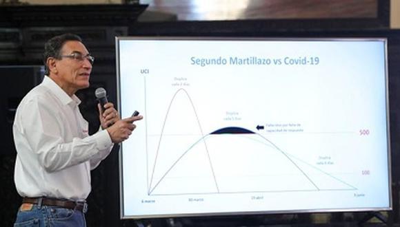 """Presidente del Perú, Martín Vizcarra, muestra el """"martillo"""" que aplica en el país para frenar el COVID-19 (Foto: Captura TV Perú)"""