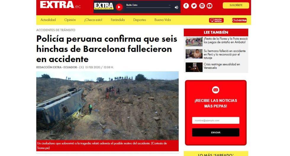 """Diario """"Extra"""" dio a conocer la muerte de los hinchas de Barcelona SC tras el anuncio de las autoridades de nuestro país. (Extra)."""
