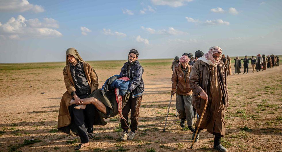 Más de 150 civiles y yihadistas del grupo Estado Islámico  salieron hoy de Al Baguz, último enclave que dominan los extremistas en Siria. (AFP)