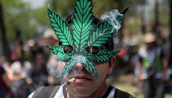 Un hombre fuma un porro de marihuana durante un mitin en apoyo a su legalización en el Parque Central Alameda de la Ciudad de México, el 4 de mayo de 2019. (Foto de PEDRO PARDO / AFP).
