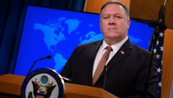 El Secretario de Estado de Estados Unidos, Mike Pompeo, durante una conferencia de prensa en el Departamento de Estado en Washington, DC. (Foto: Archivo/AFP / ANDREW CABALLERO-REYNOLDS).